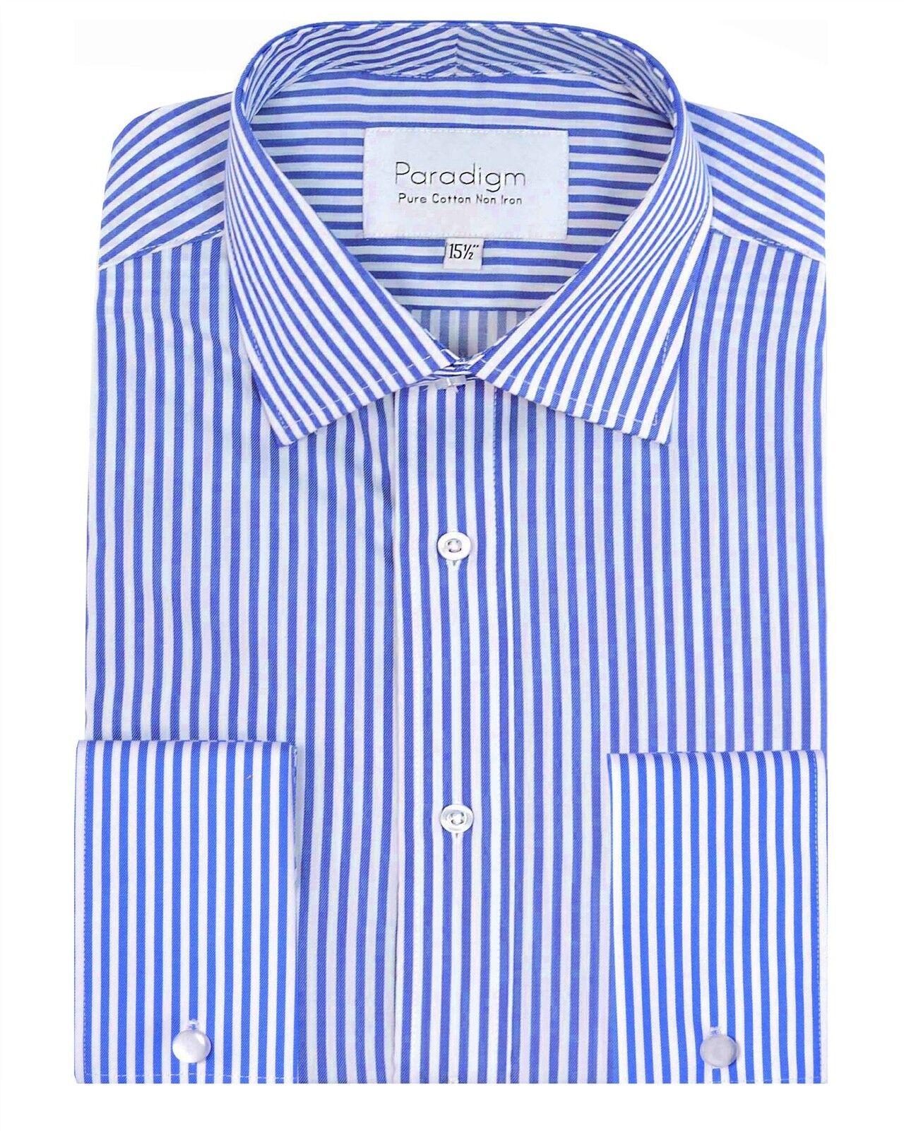 PARADIGM Da Uomo Puro Cotone Premium Doppio Polsino Camicia a Righe (7030) in 4 coloreI