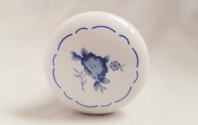 Vtg White Delft Blue Flowers Porcelain