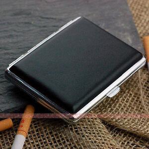 Black-Leather-Cigarette-Case-Box-Hold-For-16-Cigarettes-306Bb