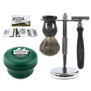 Luxury-Shaving-Set-Safety-Razor-Badger-Brush-Stand-Proraso-Cream-Blades