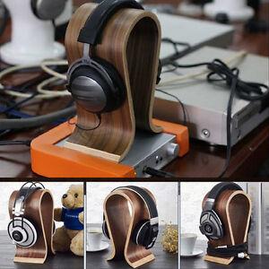 Walnut-Wooden-U-shape-Gaming-Headset-Earphone-Headphone-Stand-Hanger-Holder-Rack