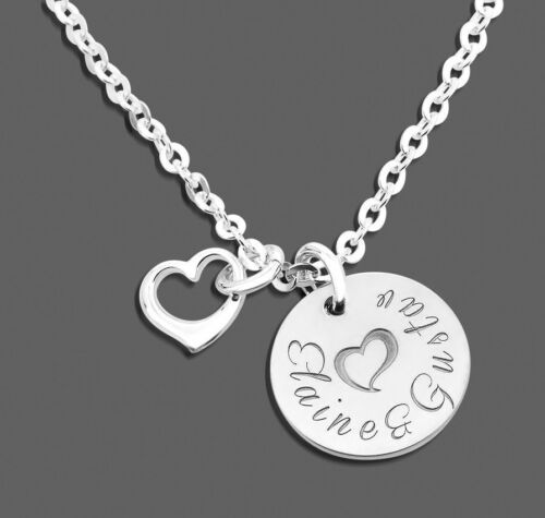 Kette mit Namen 925 Sterling Silber Silberschmuck mit Gravur Herz Anhänger