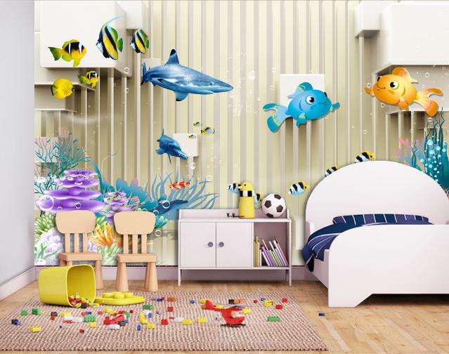 3D Dolphin Fish 48 Wallpaper Murals Wall Print Wallpaper Mural AJ WALL AU Lemon
