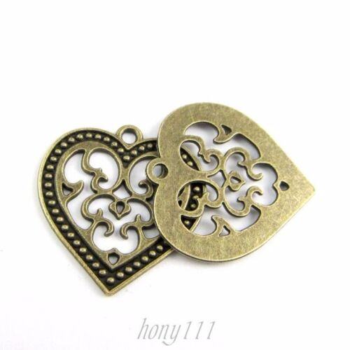 25pcs Vintage Style Bronze Alloy Heart Hollow Pendant Charms Jewelry 38671