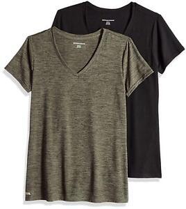 Essentials-Women-039-s-2-Pack-Tech-Stretch-Short-Sleeve-Green-Size-Medium