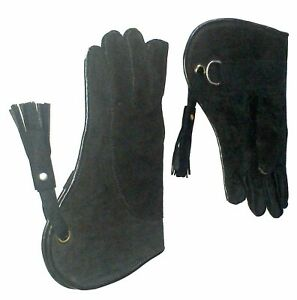Falconry-Glove-Suede-Leather-Double-Layer-12-034-Long-Standard-Size-Coal-Black