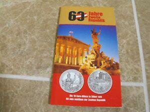 Austria-10-Euro-2005-Silver-20-Years-Second-Republic-in-Mint-Folder