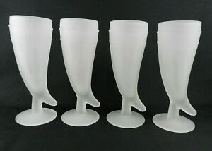 Set-of-4-Indiana-Glass-Tiara-White-Frosted-Mugs-Pilsner-Glass-Powder-Horn