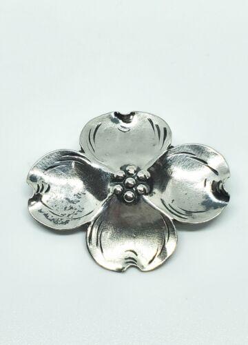 Vintage Stuart Nye Sterling Silver Double Dogwood Flower Brooch Patina 925 Floral Fine Jewelry Hand Wrought Ashville North Carolina