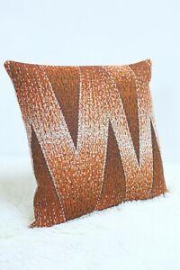 "Original Retro Fabric Cushion Cover 60s/70s 16x16"" Vintage Brown Campervan Boho"