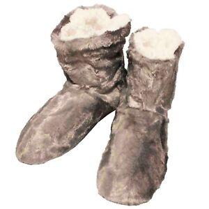 Botas-De-Casa-Gris-Hombre-Zapatillas-Peluche-Botines-Pantuflas-Suela-Goma-Altas