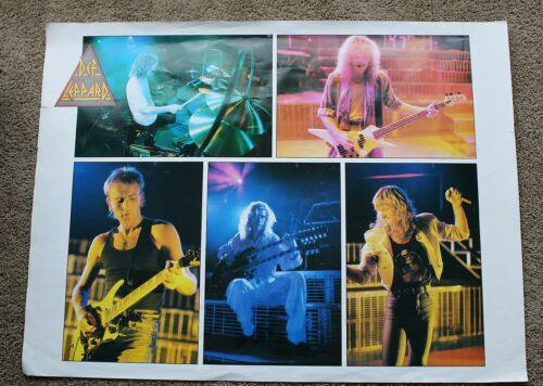 """Def Leppard 5 Pix of Band Members 1980s Large 30 x 40"""" RARE Concert Poster VGEX"""