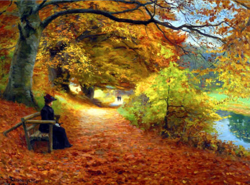 A Wooded Path in Autumn H Brendekilde Giclee Canvas Print
