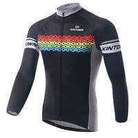 Colorful Winter Long Sleeve Bike Tops Men's Cycling Jersey Fleece Thermal S-5XL