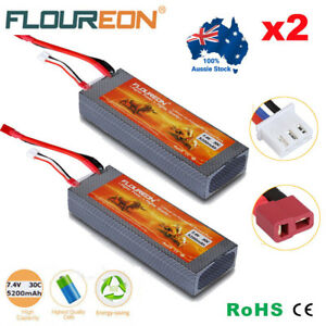 2x-7-4V-5200mAh-2S-30C-Lipo-Battery-Hard-Case-Deans-Plug-for-RC-Car-Airplane-Lot