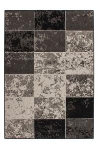Teppich Flachflor Vintage Design Patchwork Elfenbein Creme Grau