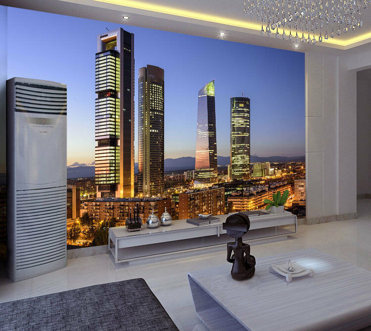 Madrid By Night Spain City Full Wall Mural Photo Wallpaper Print Home 3D Decal