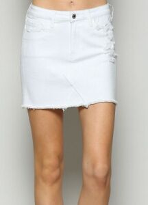 Vervet-Women-039-s-Skirt-Crisp-White-Size-30-Denim-Distressed-Fringe-Mini-59-362