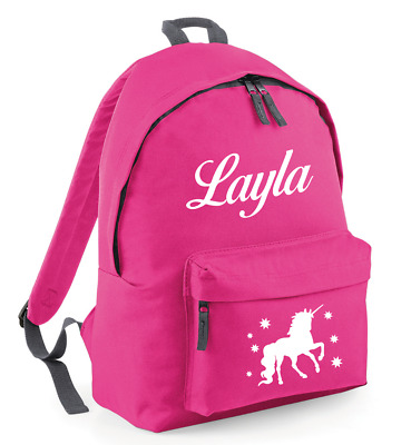 Any Name Unicorn Girls Back To School Bag #MBU1 Personalised Kids Backpack