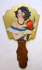 Vintage Bridge Tally Hand Fan w/ Deco Woman Flower