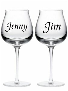 New  PERSONALISED NAME Wine Glass Vinyl Stickers Decals  Colour - Vinyl stickers for glass