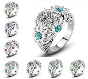 10kt-White-Gold-Filled-Sapphire-Solitaire-Flower-Ring-US-Sz-5-11-Free-Gift-Box