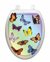 Toilet Tattoos Toilet Lid Cover Decor Butterfly Dreams Blue Reusable Vinyl