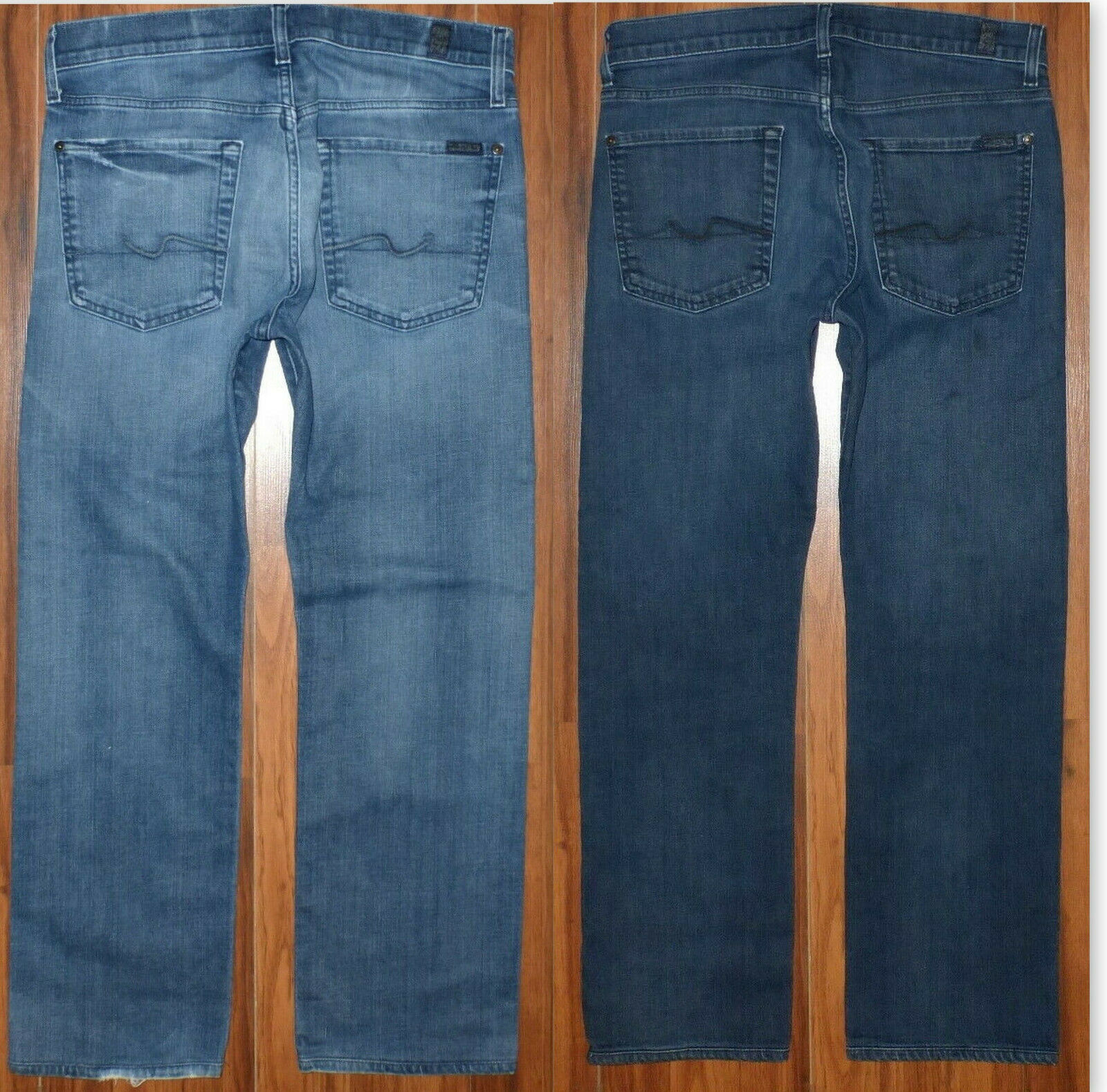 2 PAIR MENS 7 FOR ALL MANKIND THE STANDARD STRETCH FIT BUTTON FLY JEANS 31 X 27