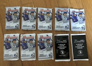 2020-Bowman-Baseball-10-Pack-Lot-8-Gravity-Feed-Packs-amp-2-Camo-Refractor-Packs