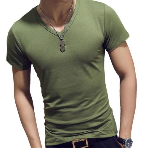 Summer Men V-Neck Gym Short Sleeve T-Shirt Tight Slim Fit Muscle Tee Tops