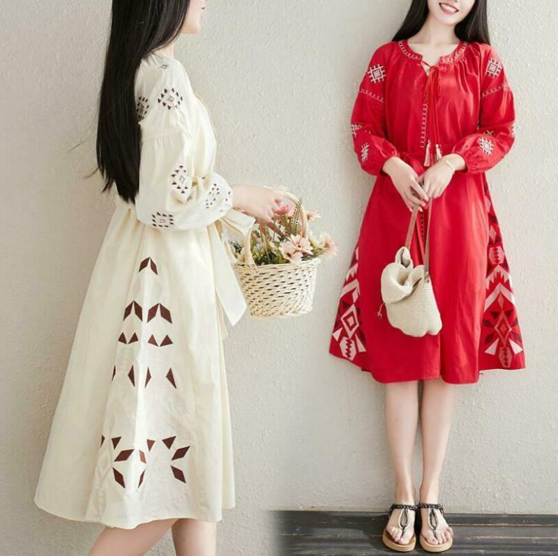 Linen Dress Women Girls Summer Loose Ethnic Skirt Vintage literary embroidery@ne