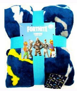 New-Primark-Fortnite-shuffle-Dancing-Throw-Blanket-soft-fleece-Blue-Ltd-Edition