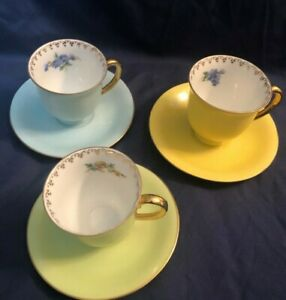 Vintage-Set-of-3-PULS-Demitasse-Cups-amp-Saucers-Porcelain-Czechoslovakia