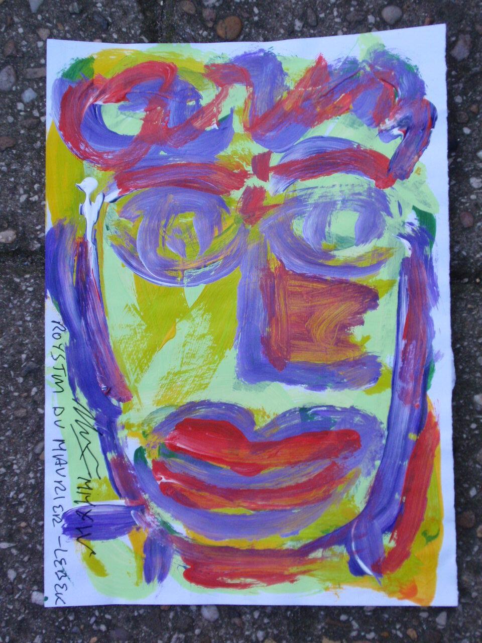 ROYSTON DU MAURIER-LEBEK Ritratto originale firmato dipinto acrilico acrilico acrilico su carta  M 7a1480