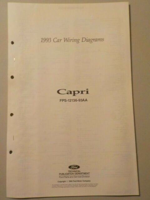 1993 Mercury Capri Electrical Schematic Wiring Diagram