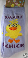 K.bell Lilac Purple Yellow Smart Chick With Glasses Womans Crew Socks