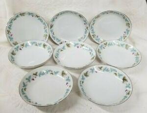 8-VINTAGE-6701-Desert-Fruit-Bowls-Fine-China-Japan-Blue-Green-Grape-Leaf-Pattern
