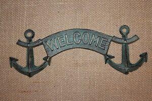 nautical bar decor.htm 2 pc  vintage look nautical welcome sign  anchor decor  welcome  2 pc  vintage look nautical welcome