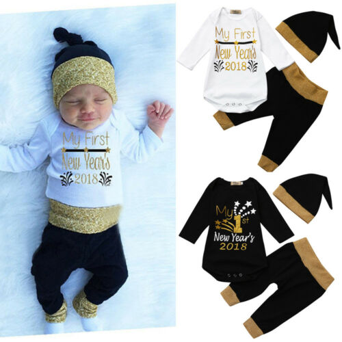 Newborn Infant Baby Boy Girl Letter Romper Tops Pants Hat New Year Outfits Set