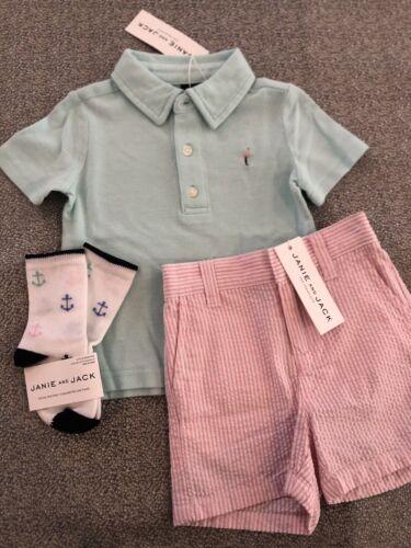 NWT Janie and Jack boy 3-piece pink flamingo mint polo SPRING SUMMER set 6 9 12