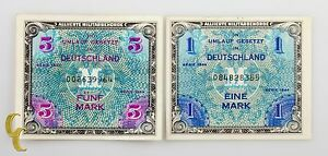 1944-Germany-Post-WWII-Allied-Military-Currency-1-amp-5-Mark-AU-UNC-Condition