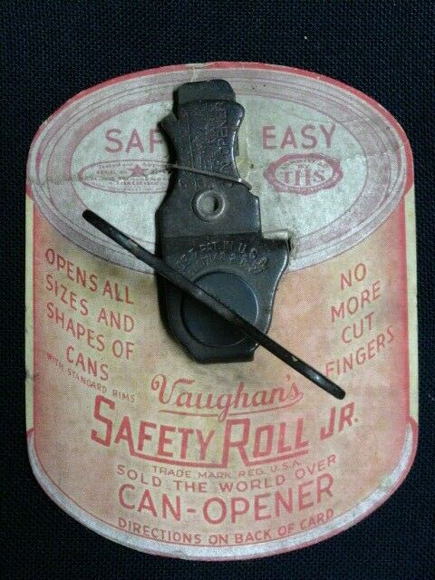 Vaughan S 1927 Safety Roll Jr Can Opener Vintage Nos On