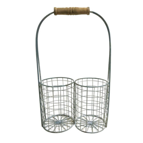 Wire Duo Basket Grey Colour Wheathered Suitable For Plants by All Chic