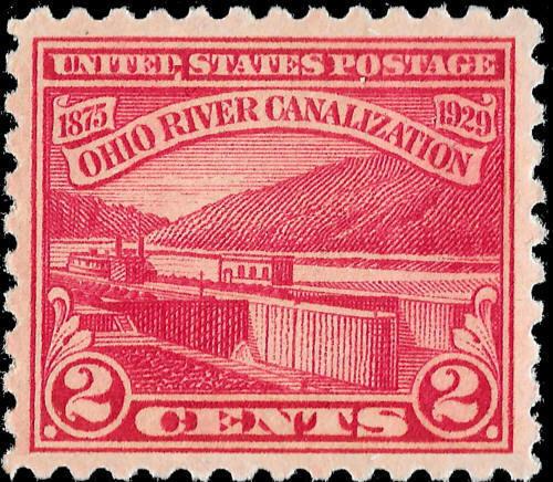 1929 2c Ohio River Canalization Scott 681 Mint F/VF NH