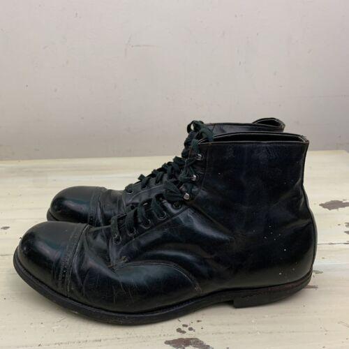 TUF TEX - Vtg 30s-40s Black Leather Cap Toe Ankle