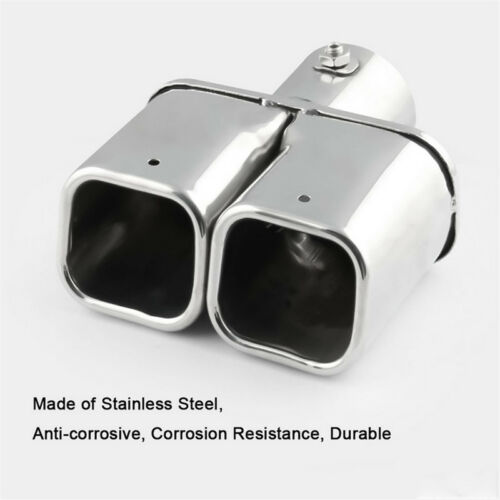Universal Stainless Steel Dual Car Truck Exhaust Tip Square Tail Pipe Muffler 1x