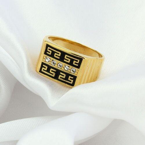 circonita Gold chapadas//esmaltadas anillo de sello hx100632 Anillo de hombre