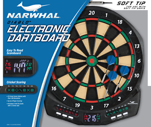 Details About Electronic Dartboard Set With Cricket Scoring Built In Dart Storage Game Board