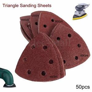 50Pcs-40-180-Grit-Sanding-Sheets-Discs-Triangle-Sander-Grinder-Paper-Pads-HQ