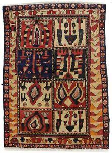 Semi Antique Cream Red Floral Garden 3'5X4'9 Oriental Rug Farmhouse Decor Carpet